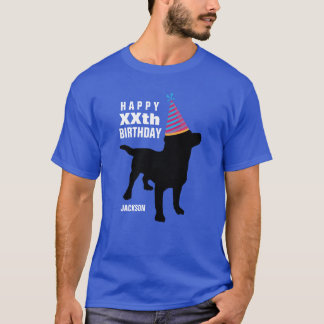 Funny Black Lab Dog Custom Age and Name Birthday T-Shirt