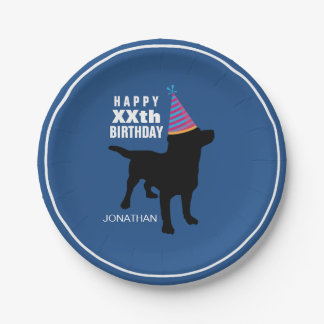 Funny Black Lab Dog Custom Birthday Paper Plate
