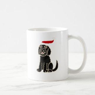 Funny Black Labradoodle in Santa Hat Christmas Art Coffee Mug
