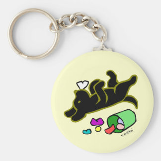 Funny Black Labrador Cartoon Illustration Key Ring