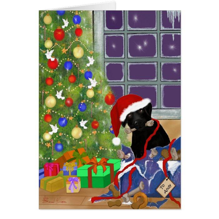 Funny, Black Labrador Christmas Greeting Card