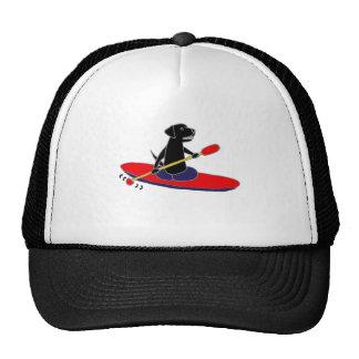 Funny Black Labrador Retriever Dog Kayaking Cap