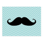 Funny Black Moustache And Blue Chevron Pattern Postcard