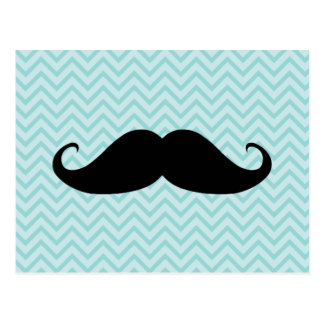 Funny Black Moustache And Blue Chevron Pattern Postcard