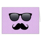 Funny Black Moustache And Glasses Card