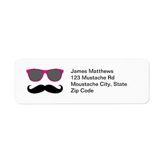 Funny Black Moustache and Sunglasses Return Return Address Label