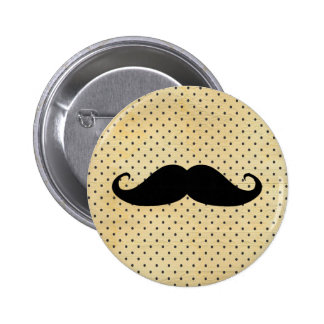 Funny Black Moustache On Vintage Yellow Polka Dots 6 Cm Round Badge