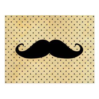 Funny Black Moustache On Vintage Yellow Polka Dots Postcard