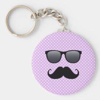 Funny Black Mustache And Glasses Basic Round Button Key Ring