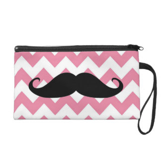 Funny Black Mustache And Pink Chevron Pattern Wristlet