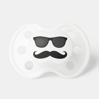FUNNY BLACK MUSTACHE AND SUNGLASSES PACIFIER
