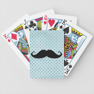 Funny Black Mustache On Teal Blue Polka Dots Bicycle Playing Cards