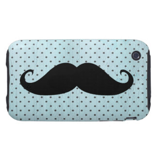 Funny Black Mustache On Teal Blue Polka Dots iPhone 3 Tough Cover