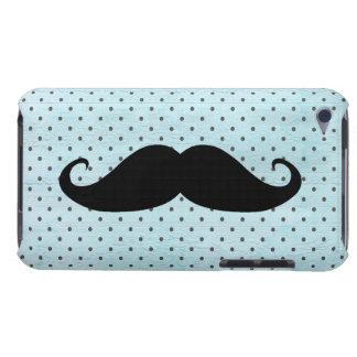 Funny Black Mustache On Teal Blue Polka Dots iPod Touch Cases