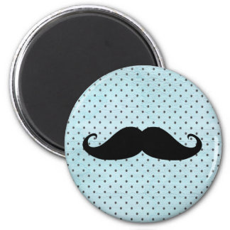 Funny Black Mustache On Teal Blue Polka Dots Magnet