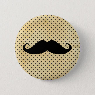 Funny Black Mustache On Vintage Yellow Polka Dots 6 Cm Round Badge