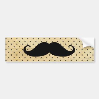 Funny Black Mustache On Vintage Yellow Polka Dots Bumper Sticker