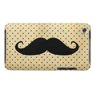 Funny Black Mustache On Vintage Yellow Polka Dots Barely There iPod Case
