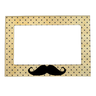 Funny Black Mustache On Vintage Yellow Polka Dots Magnetic Frame