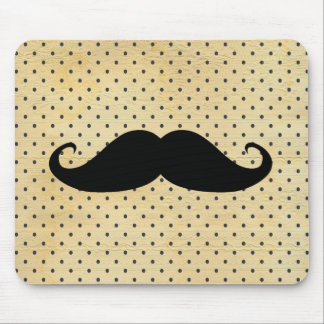 Funny Black Mustache On Vintage Yellow Polka Dots Mouse Mat