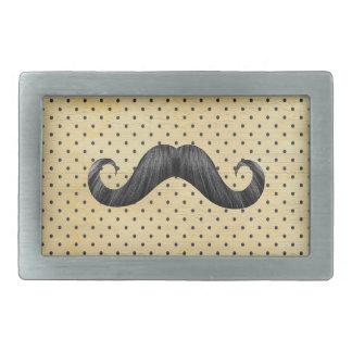 Funny Black Mustache On Vintage Yellow Polka Dots Rectangular Belt Buckle