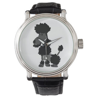 Funny Black Poodle Dog Art Wrist Watch