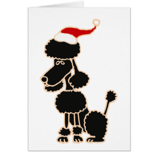 Funny Black Poodle in Santa Hat Christmas Art Greeting Cards