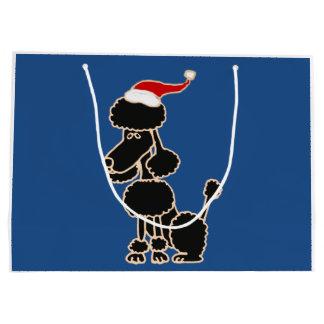 Funny Black Poodle in Santa Hat Christmas Art Large Gift Bag