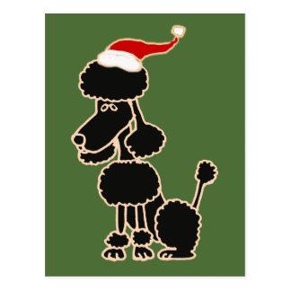 Funny Black Poodle in Santa Hat Christmas Art Postcard