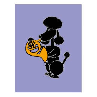 Funny Black Poodle Playing French Horn Postcard