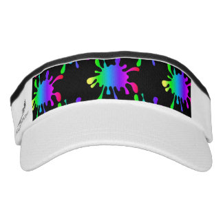 Funny Black Rainbow Paint Splatters Knit Visor