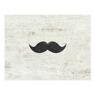Funny Black Retro Mustache Vintage White Wood Postcard