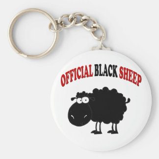 Funny black sheep basic round button key ring