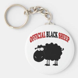 Funny black sheep basic round button key ring