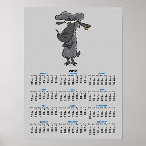 funny black sheep cartoon character print