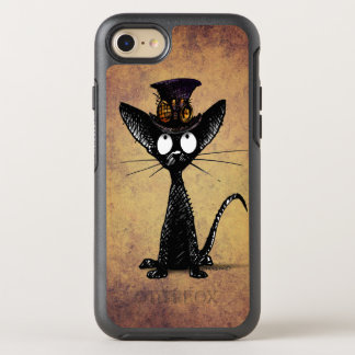Funny Black Steampunk Cat in a Top Hat OtterBox Symmetry iPhone 8/7 Case