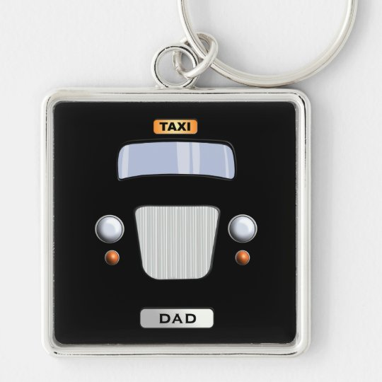 Funny Black Taxi Cab Personalised Square Keychain