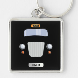 Funny Black Taxi Cab Personalized Square Keychain