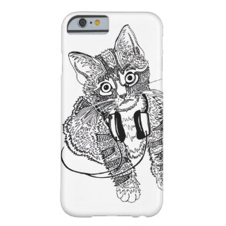 Funny Black & White Cat in Headphones illustration Barely There iPhone 6 Case