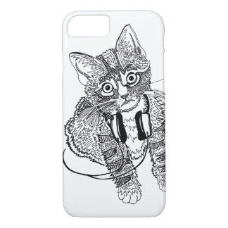 Funny Black & White Cat in Headphones illustration iPhone 7 Case