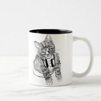 Funny Black & White Cat in Headphones illustration Two-Tone Coffee Mug