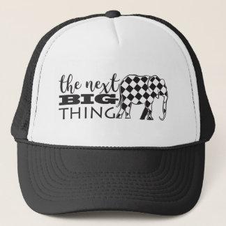 Funny Black White Elephant Checked Next Big Thing Trucker Hat