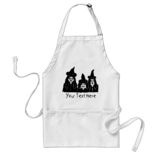 funny black witches spooky scary halloween design standard apron