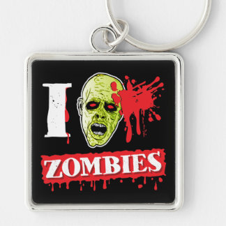 Funny Blood Spattered Zombie Silver-Colored Square Key Ring