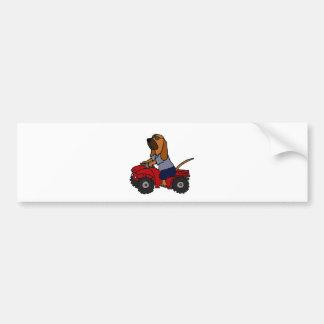 Funny Bloodhound Driving Red ATV Bumper Sticker