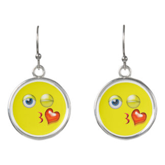 Funny Blow Kiss Emoji Smiley Earrings