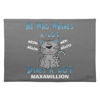 Funny Blue and Gray Personalized Pet Placemat