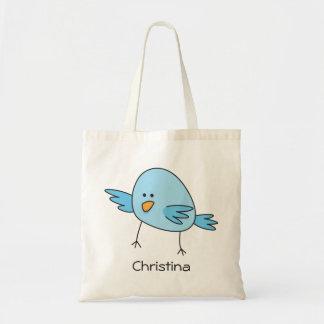 Funny blue bird cute cartoon personalized tote bag