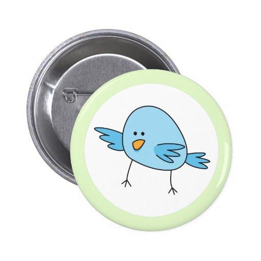 Funny blue bird kids animal cartoon green border pinback button