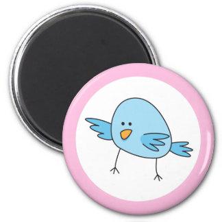 Funny blue bird kids animal cartoon pink border 6 cm round magnet